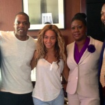 Now here is a favorite. The Carter's with the late Treyvon Martin's family. JayZ is credited for attending the protest against George Zimmerman in NYC. What I admire the most about Beyonce is her ability to be so understated. No make-up and clearly just up to meet the Martin's---it's her spirit that you can't help but love.